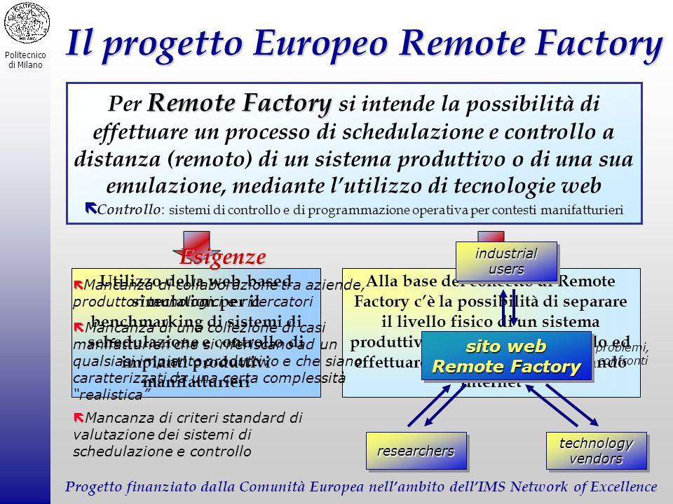 Politecnico di Milano Il progetto Europeo Remote Factory Remote Factory Per Remote Factory si intende la possibilità di effettuare un processo di sche