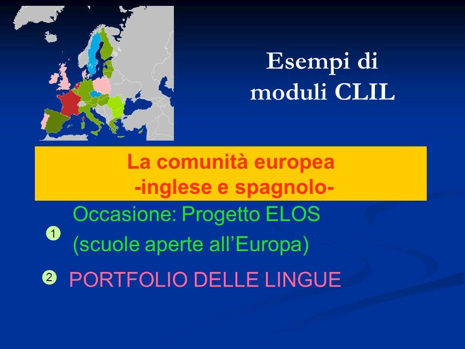 La comunità europea -inglese e spagnolo- Occasione: Progetto ELOS (scuole aperte allEuropa) 1 PORTFOLIO DELLE LINGUE 2 Esempi di moduli CLIL
