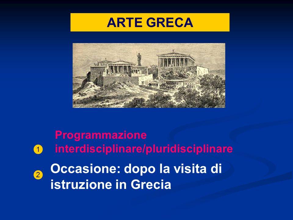 ARTE GRECA Programmazione interdisciplinare/pluridisciplinare 1 Occasione: dopo la visita di istruzione in Grecia 2