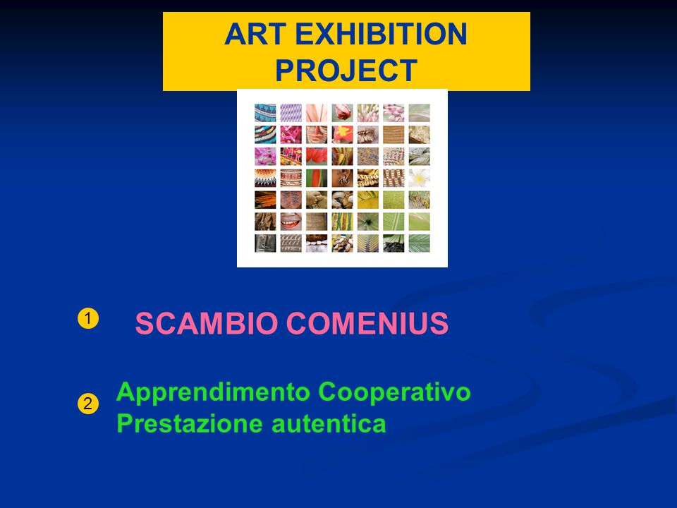 ART EXHIBITION PROJECT SCAMBIO COMENIUS 1 Apprendimento Cooperativo Prestazione autentica 2