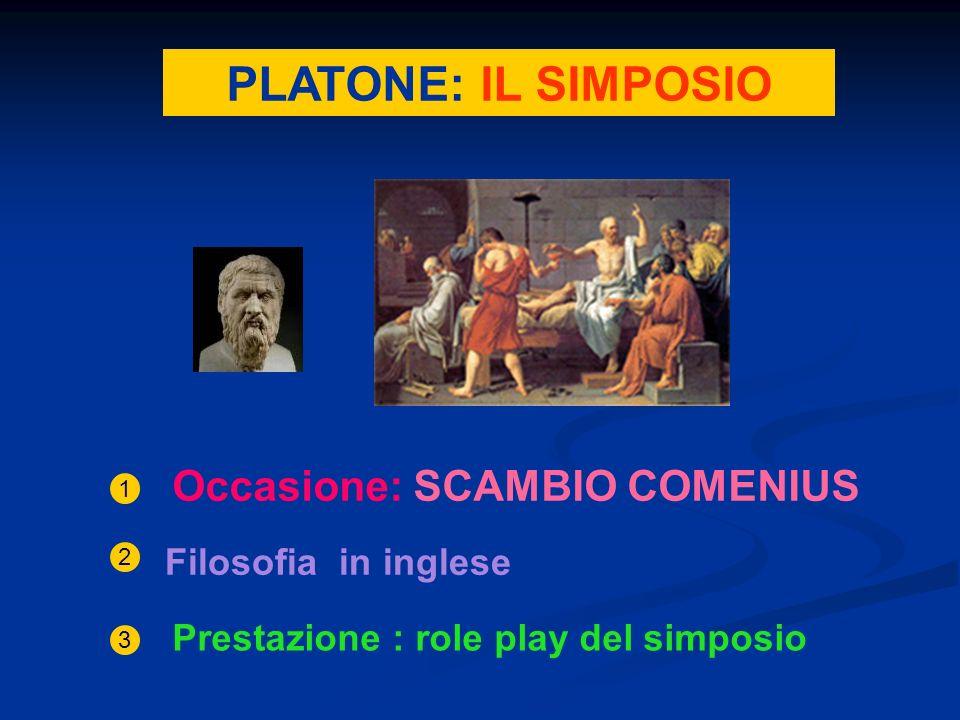PLATONE: IL SIMPOSIO Occasione: SCAMBIO COMENIUS 1 Filosofia in inglese 2 3 Prestazione : role play del simposio