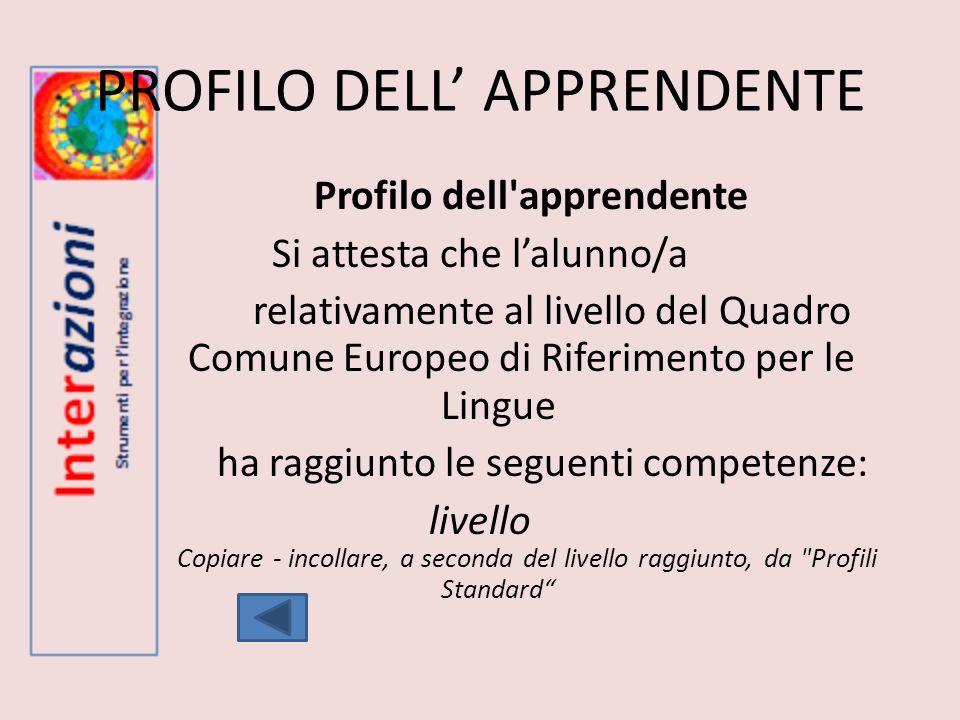 PROFILO DELL APPRENDENTE Profilo dell'apprendente Si attesta che lalunno/a relativamente al livello del Quadro Comune Europeo di Riferimento per le Li