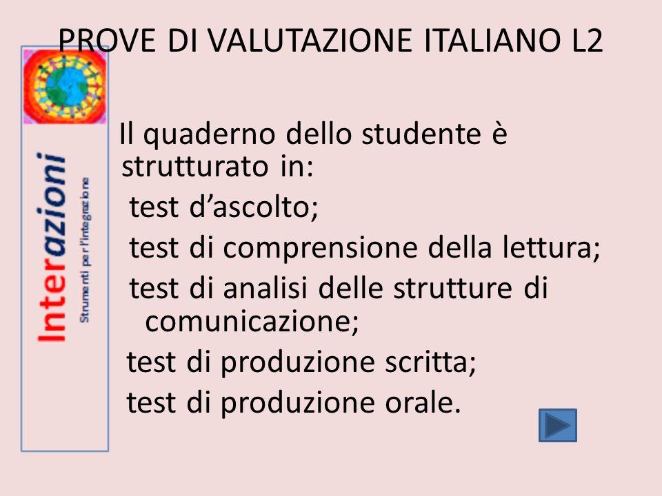 PROVE DI VALUTAZIONE ITALIANO L2 Il quaderno dello studente è strutturato in: test dascolto; test di comprensione della lettura; test di analisi delle