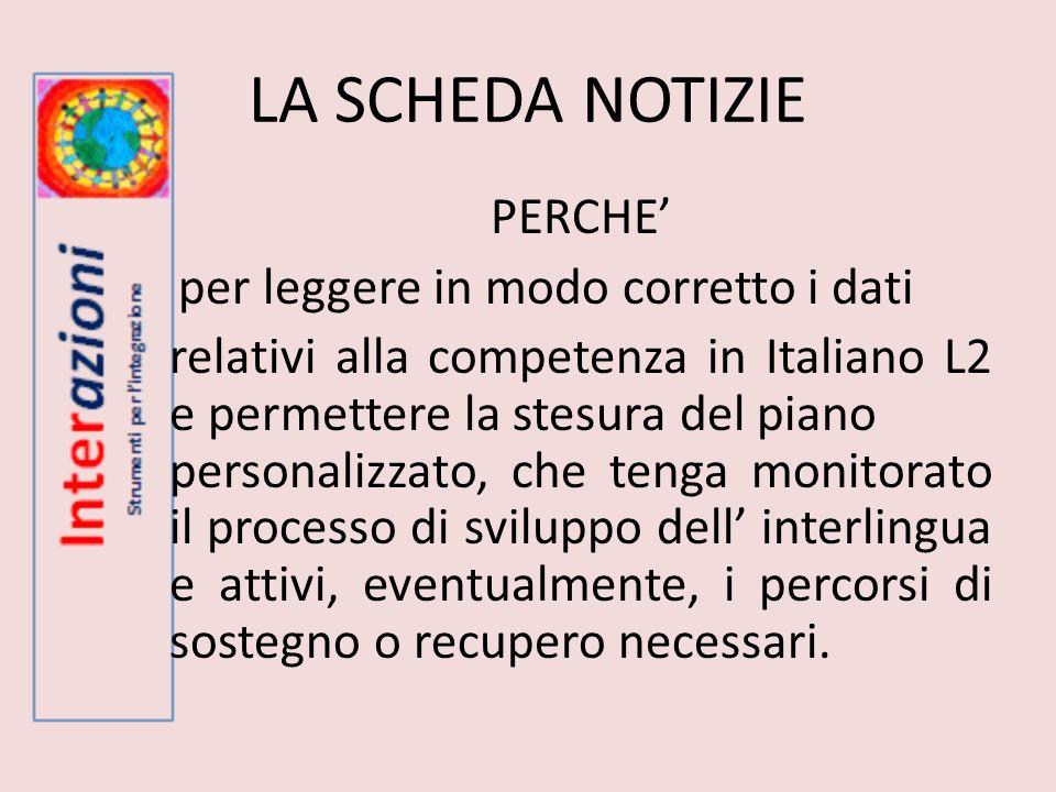 LA SCHEDA NOTIZIE PERCHE per leggere in modo corretto i dati relativi alla competenza in Italiano L2 e permettere la stesura del piano personalizzato,