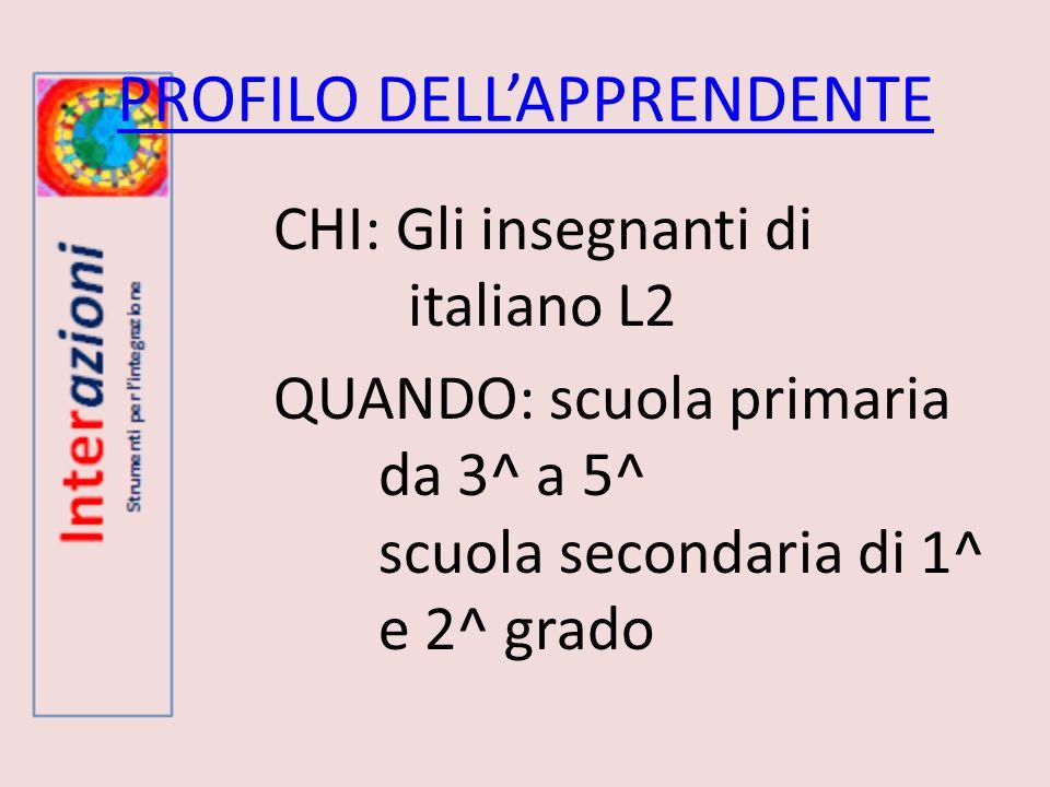 PROFILO DELLAPPRENDENTE CHI: Gli insegnanti di italiano L2 QUANDO: scuola primaria da 3^ a 5^ scuola secondaria di 1^ e 2^ grado