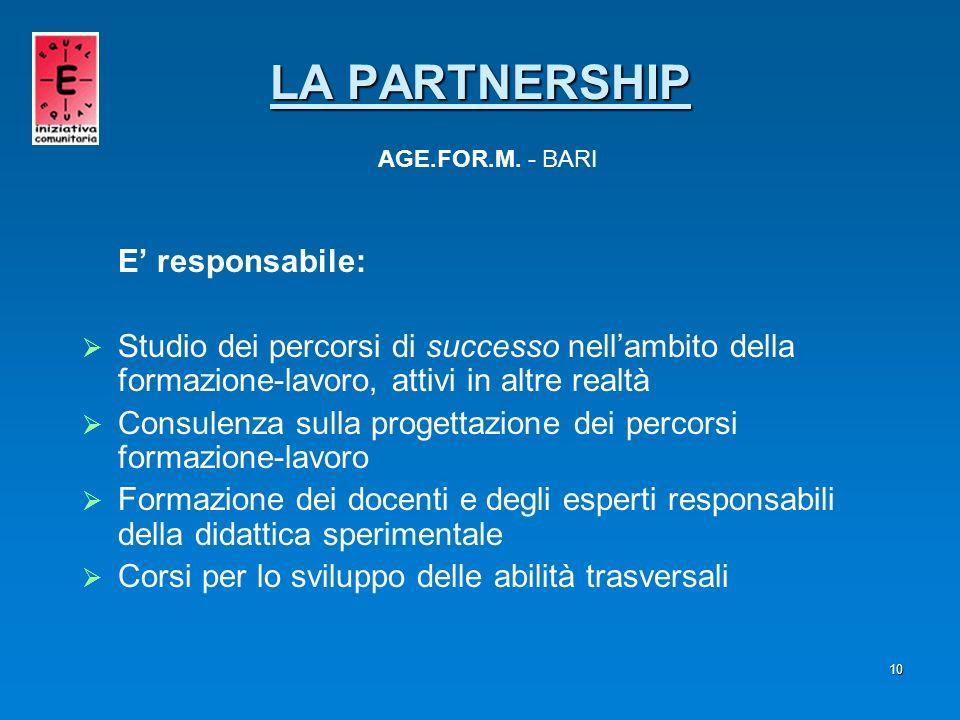 10 E responsabile: Studio dei percorsi di successo nellambito della formazione-lavoro, attivi in altre realtà Consulenza sulla progettazione dei perco