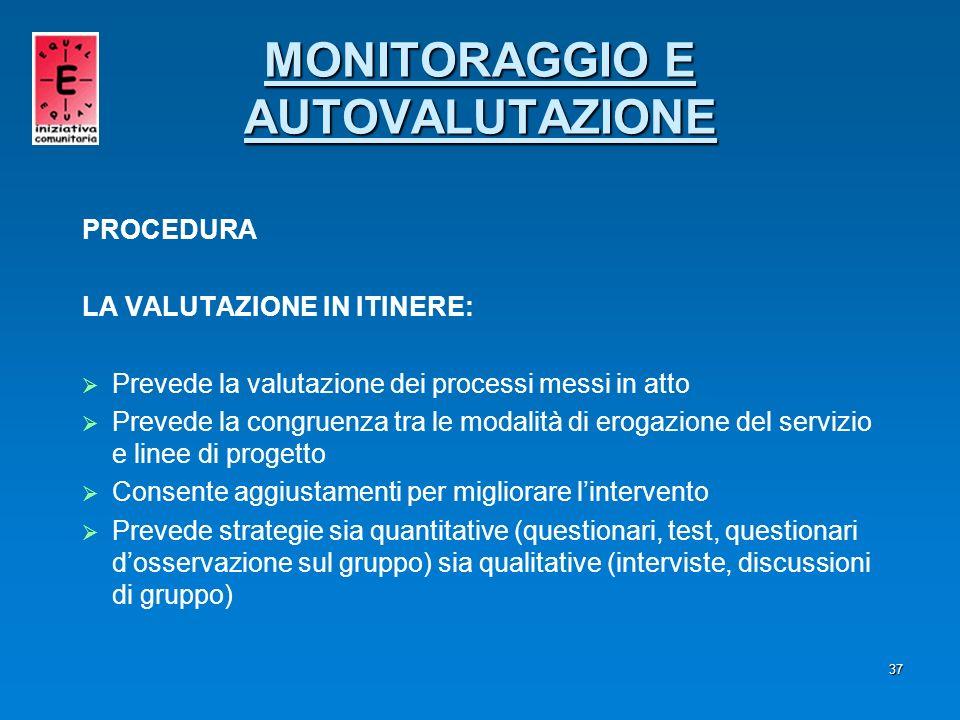 37 PROCEDURA LA VALUTAZIONE IN ITINERE: Prevede la valutazione dei processi messi in atto Prevede la congruenza tra le modalità di erogazione del serv