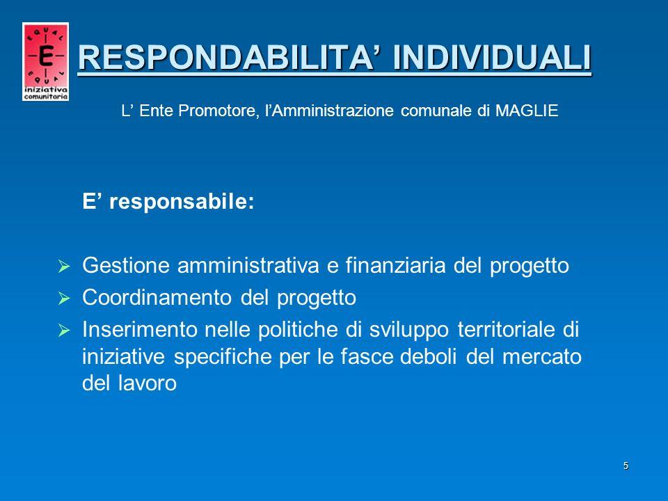 5 E responsabile: Gestione amministrativa e finanziaria del progetto Coordinamento del progetto Inserimento nelle politiche di sviluppo territoriale d