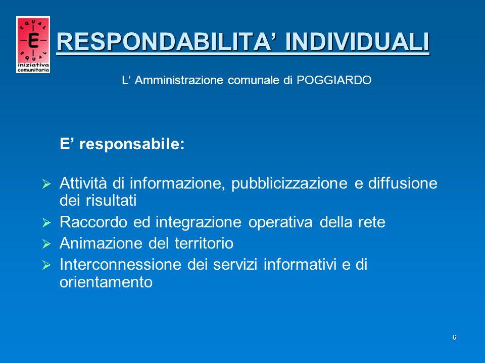 6 E responsabile: Attività di informazione, pubblicizzazione e diffusione dei risultati Raccordo ed integrazione operativa della rete Animazione del t