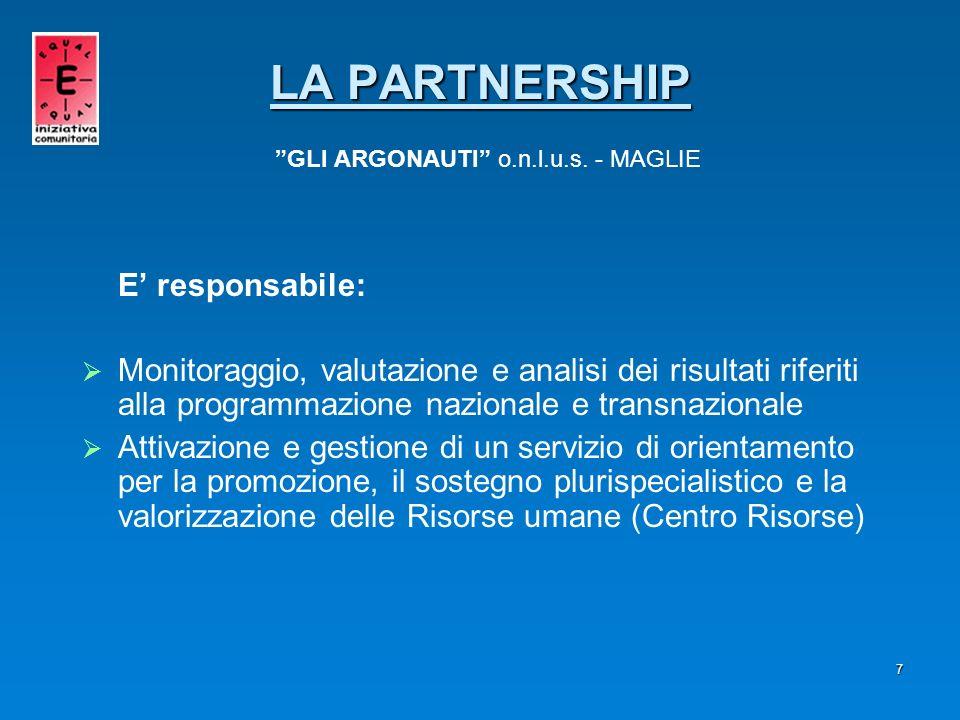 7 E responsabile: Monitoraggio, valutazione e analisi dei risultati riferiti alla programmazione nazionale e transnazionale Attivazione e gestione di