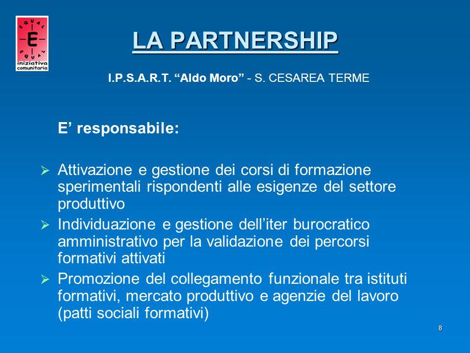 8 E responsabile: Attivazione e gestione dei corsi di formazione sperimentali rispondenti alle esigenze del settore produttivo Individuazione e gestio