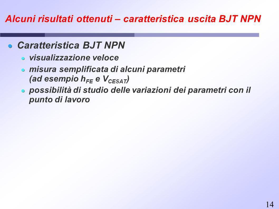14 Alcuni risultati ottenuti – caratteristica uscita BJT NPN Caratteristica BJT NPN visualizzazione veloce misura semplificata di alcuni parametri (ad esempio h FE e V CESAT ) possibilità di studio delle variazioni dei parametri con il punto di lavoro