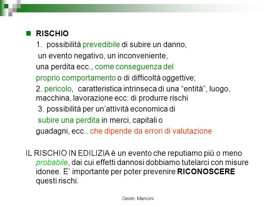 Geom. Mancini RISCHIO 1. possibilità prevedibile di subire un danno, un evento negativo, un inconveniente, una perdita ecc., come conseguenza del prop