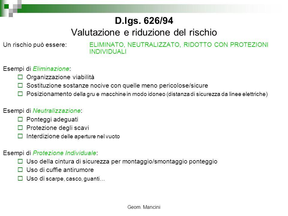 Geom. Mancini D.lgs. 626/94 Valutazione e riduzione del rischio Un rischio può essere: ELIMINATO, NEUTRALIZZATO, RIDOTTO CON PROTEZIONI INDIVIDUALI Es