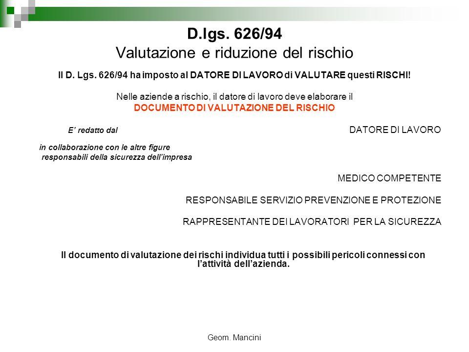 Geom. Mancini D.lgs. 626/94 Valutazione e riduzione del rischio Il D. Lgs. 626/94 ha imposto al DATORE DI LAVORO di VALUTARE questi RISCHI! Nelle azie