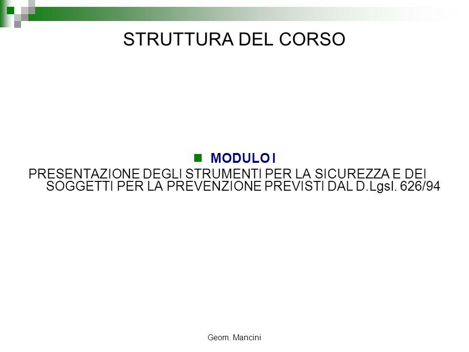 Geom. Mancini STRUTTURA DEL CORSO MODULO I PRESENTAZIONE DEGLI STRUMENTI PER LA SICUREZZA E DEI SOGGETTI PER LA PREVENZIONE PREVISTI DAL D.Lgsl. 626/9
