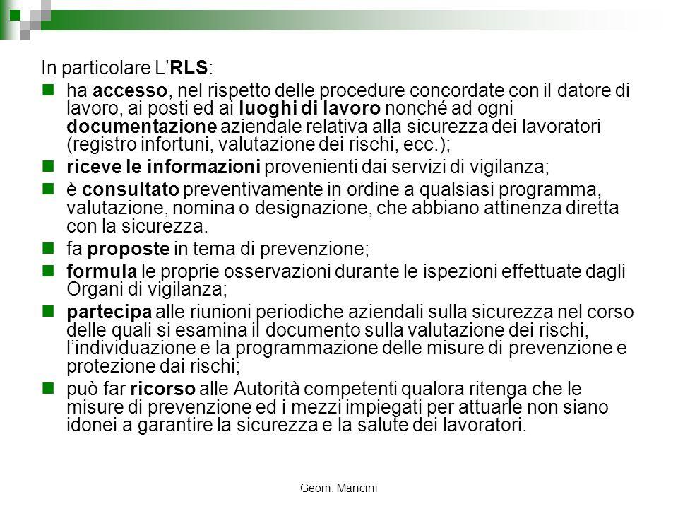 Geom. Mancini In particolare LRLS: ha accesso, nel rispetto delle procedure concordate con il datore di lavoro, ai posti ed ai luoghi di lavoro nonché