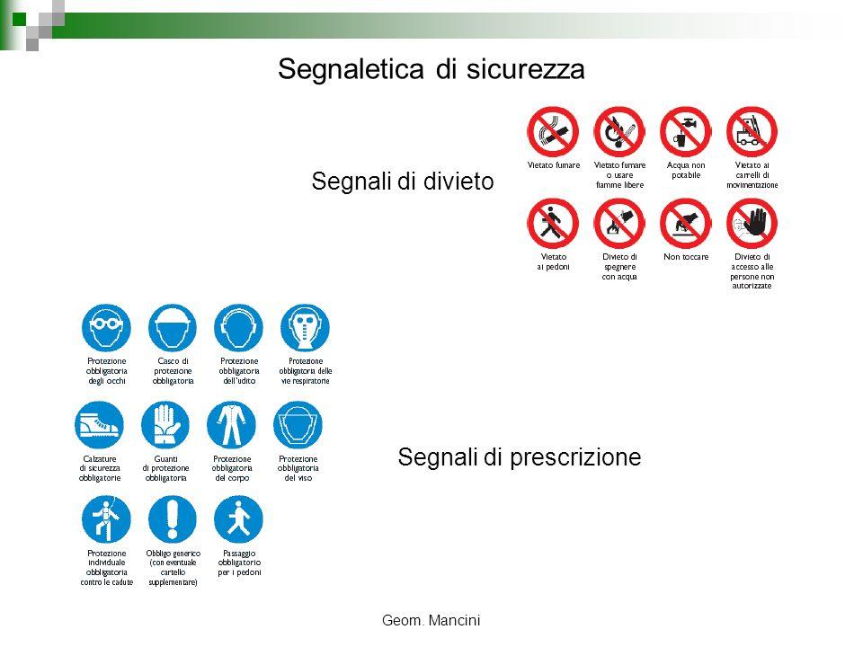 Geom. Mancini Segnali di divieto Segnali di prescrizione Segnaletica di sicurezza