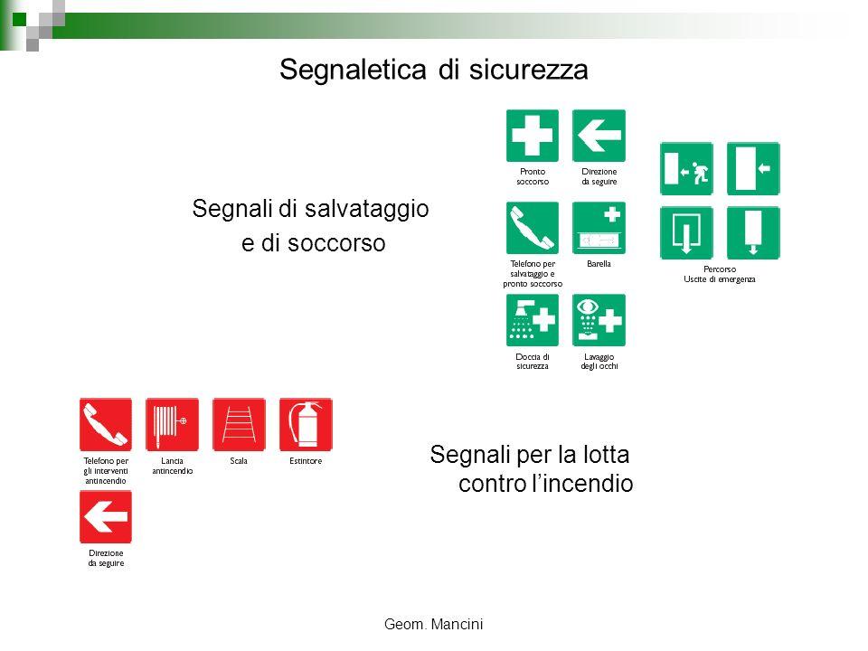 Geom. Mancini Segnali di salvataggio e di soccorso Segnaletica di sicurezza Segnali per la lotta contro lincendio