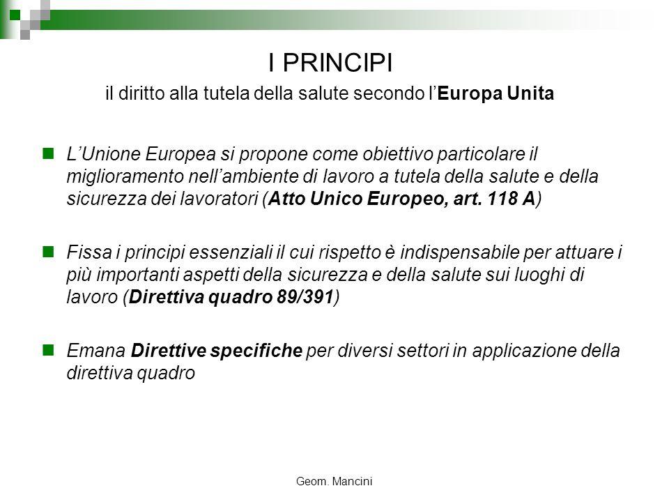 Geom. Mancini I PRINCIPI il diritto alla tutela della salute secondo lEuropa Unita LUnione Europea si propone come obiettivo particolare il migliorame