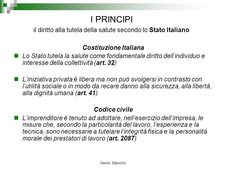 Geom. Mancini I PRINCIPI il diritto alla tutela della salute secondo lo Stato Italiano Costituzione Italiana Lo Stato tutela la salute come fondamenta