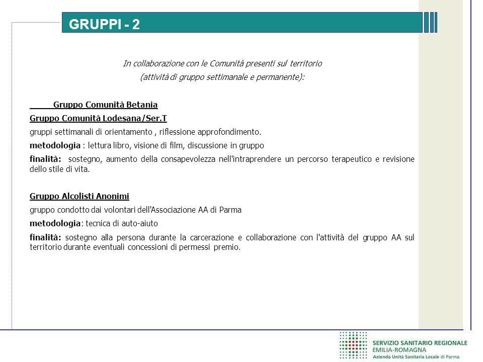 GRUPPI - 2 In collaborazione con le Comunità presenti sul territorio (attività di gruppo settimanale e permanente): Gruppo Comunità Betania Gruppo Comunità Lodesana/Ser.T gruppi settimanali di orientamento, riflessione approfondimento.