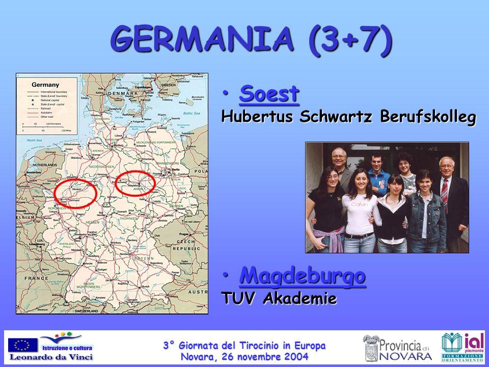 GERMANIA (3+7) Soest Hubertus Schwartz Berufskolleg Soest Hubertus Schwartz Berufskolleg Magdeburgo TUV Akademie Magdeburgo TUV Akademie 3° Giornata del Tirocinio in Europa Novara, 26 novembre 2004