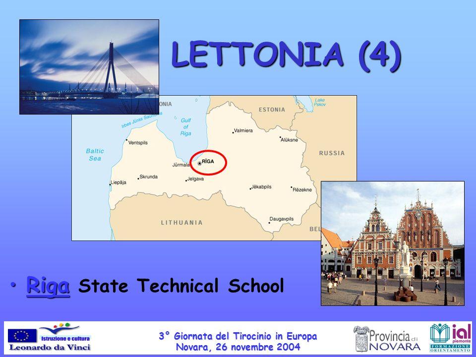 LETTONIA (4) Riga Riga State Technical School 3° Giornata del Tirocinio in Europa Novara, 26 novembre 2004