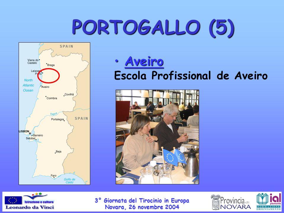 PORTOGALLO (5) Aveiro Aveiro Escola Profissional de Aveiro 3° Giornata del Tirocinio in Europa Novara, 26 novembre 2004