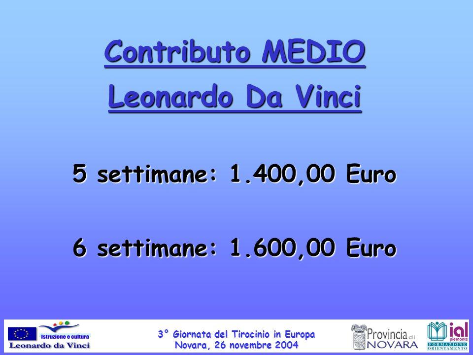 Contributo MEDIO Leonardo Da Vinci 5 settimane: 1.400,00 Euro 6 settimane: 1.600,00 Euro 3° Giornata del Tirocinio in Europa Novara, 26 novembre 2004