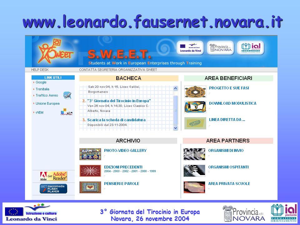 www.leonardo.fausernet.novara.it 3° Giornata del Tirocinio in Europa Novara, 26 novembre 2004