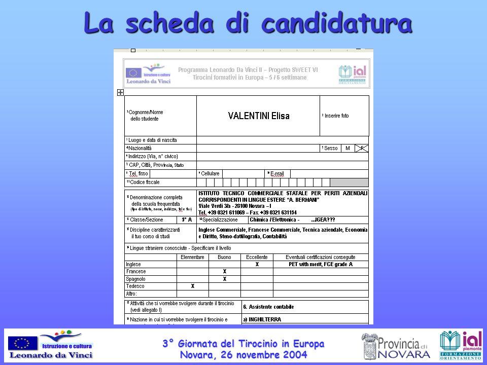 La scheda di candidatura 3° Giornata del Tirocinio in Europa Novara, 26 novembre 2004
