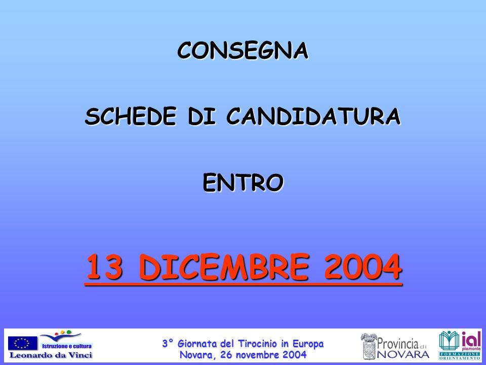 CONSEGNA SCHEDE DI CANDIDATURA ENTRO 13 DICEMBRE 2004 3° Giornata del Tirocinio in Europa Novara, 26 novembre 2004