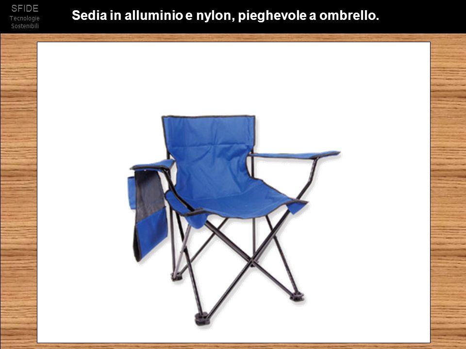 SFIDE Tecnologie Sostenibili Sedia in alluminio e nylon, pieghevole a ombrello.