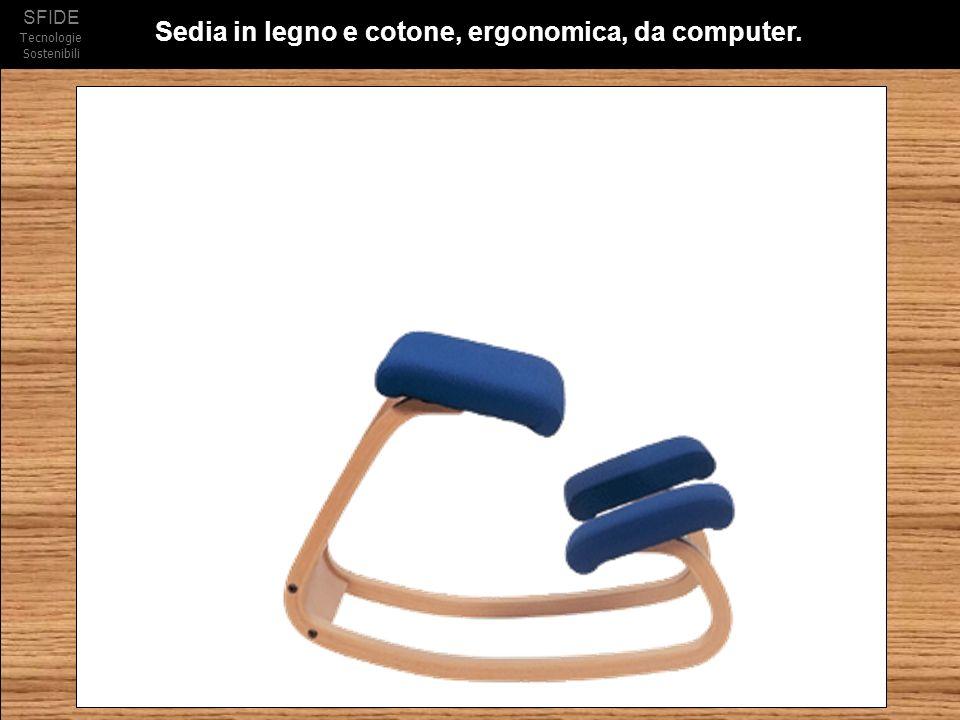 SFIDE Tecnologie Sostenibili Sedia in legno e cotone, ergonomica, da computer.