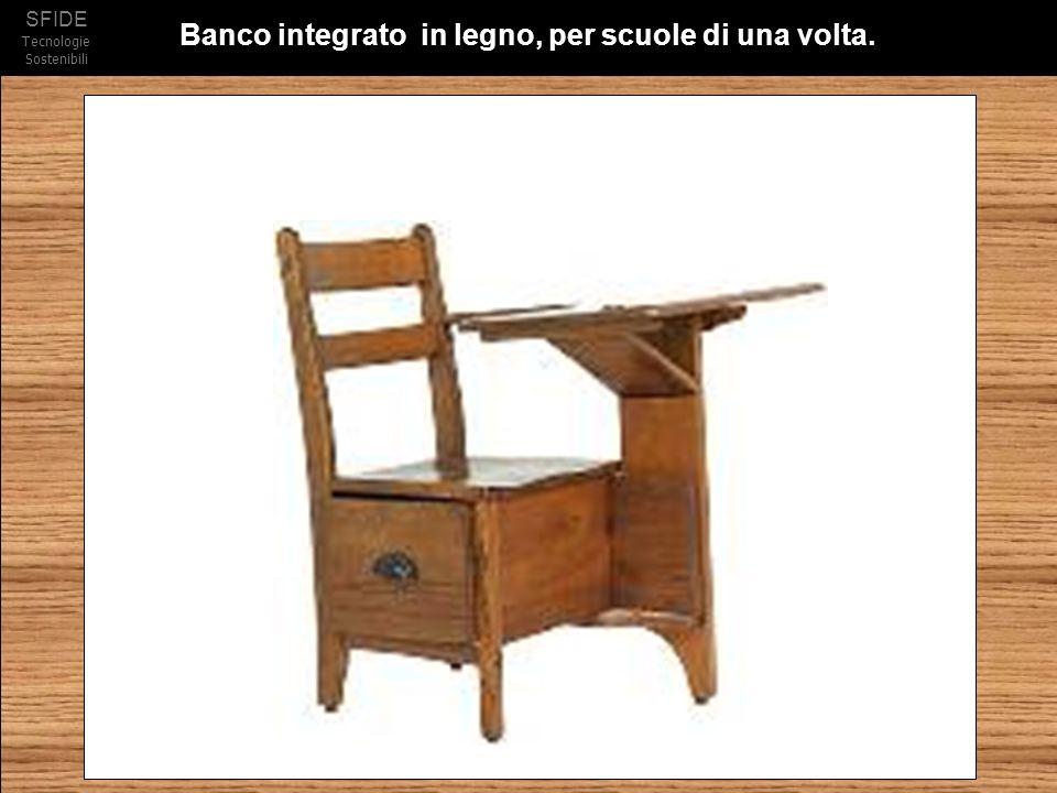 SFIDE Tecnologie Sostenibili Banco integrato in legno, per scuole di una volta.