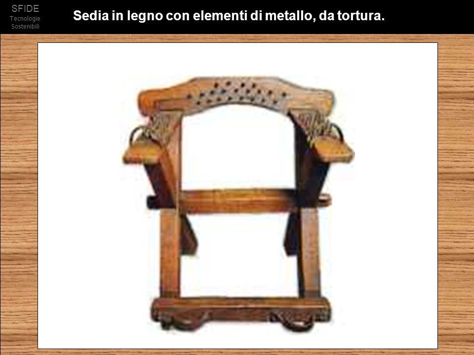 SFIDE Tecnologie Sostenibili Sedia in legno con elementi di metallo, da tortura.