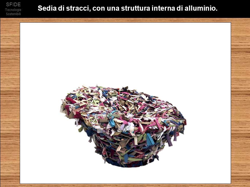 SFIDE Tecnologie Sostenibili Sedia di stracci, con una struttura interna di alluminio.