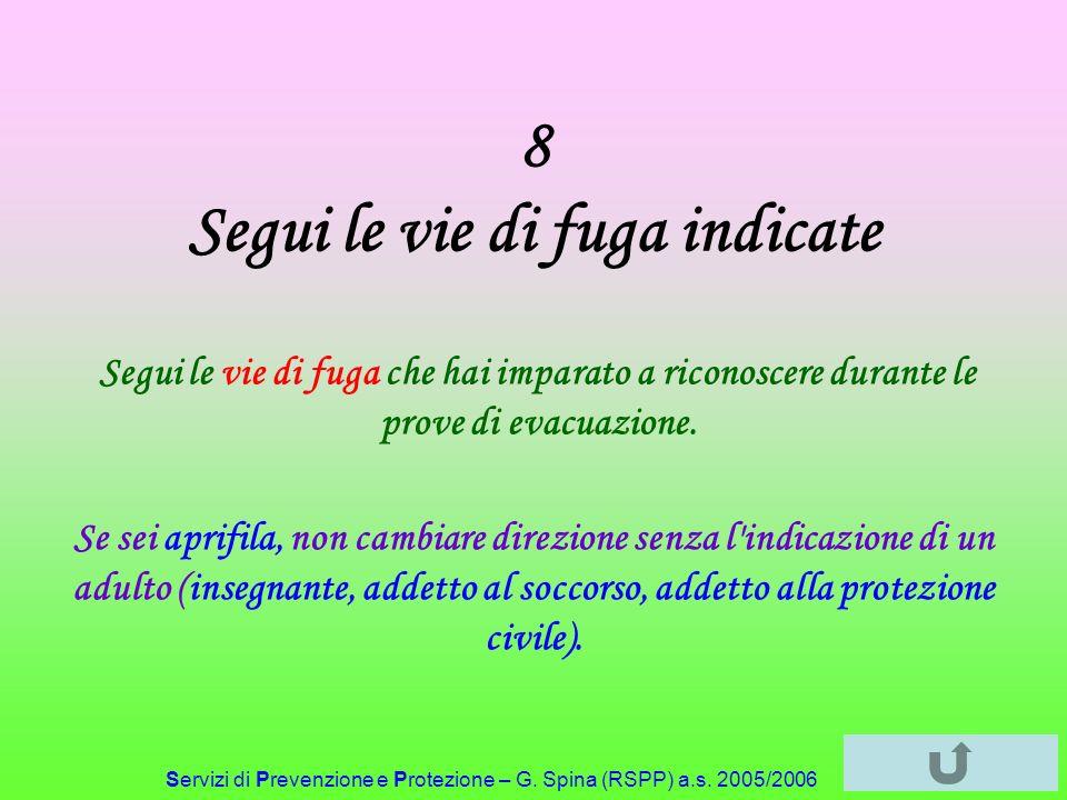 Servizi di Prevenzione e Protezione – G. Spina (RSPP) a.s. 2005/2006 8 Segui le vie di fuga indicate Segui le vie di fuga che hai imparato a riconosce