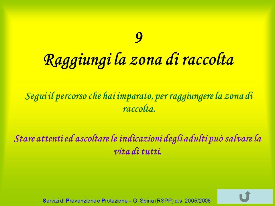 Servizi di Prevenzione e Protezione – G. Spina (RSPP) a.s. 2005/2006 9 Raggiungi la zona di raccolta Segui il percorso che hai imparato, per raggiunge