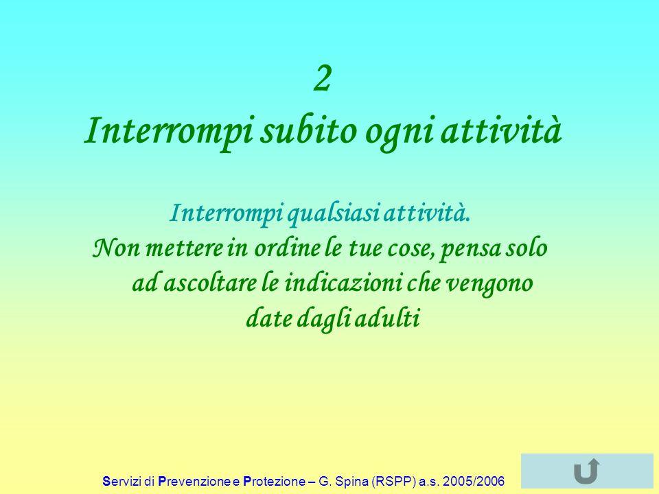 Servizi di Prevenzione e Protezione – G. Spina (RSPP) a.s. 2005/2006 2 Interrompi subito ogni attività Interrompi qualsiasi attività. Non mettere in o