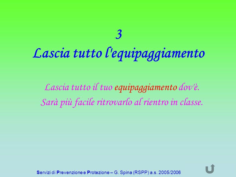 Servizi di Prevenzione e Protezione – G. Spina (RSPP) a.s. 2005/2006 3 Lascia tutto l'equipaggiamento Lascia tutto il tuo equipaggiamento dov'è. Sarà