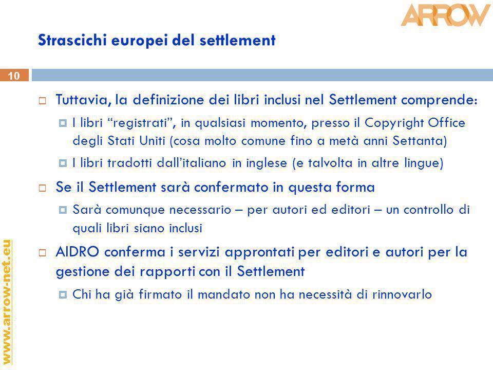 10 www.arrow-net.eu Strascichi europei del settlement Tuttavia, la definizione dei libri inclusi nel Settlement comprende: I libri registrati, in qual