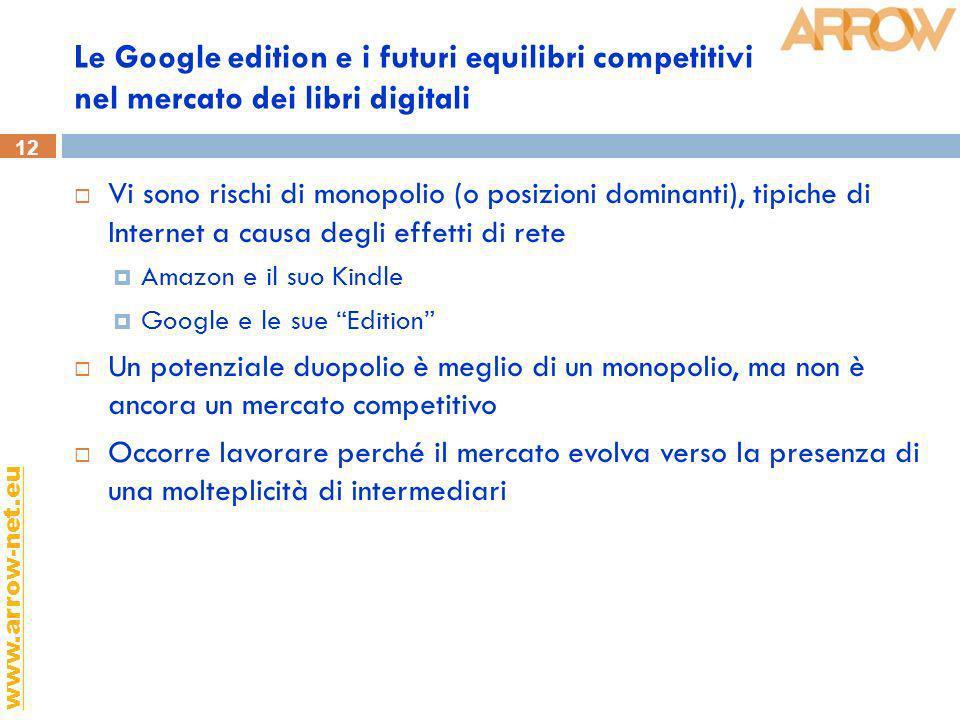 12 www.arrow-net.eu Le Google edition e i futuri equilibri competitivi nel mercato dei libri digitali Vi sono rischi di monopolio (o posizioni dominan