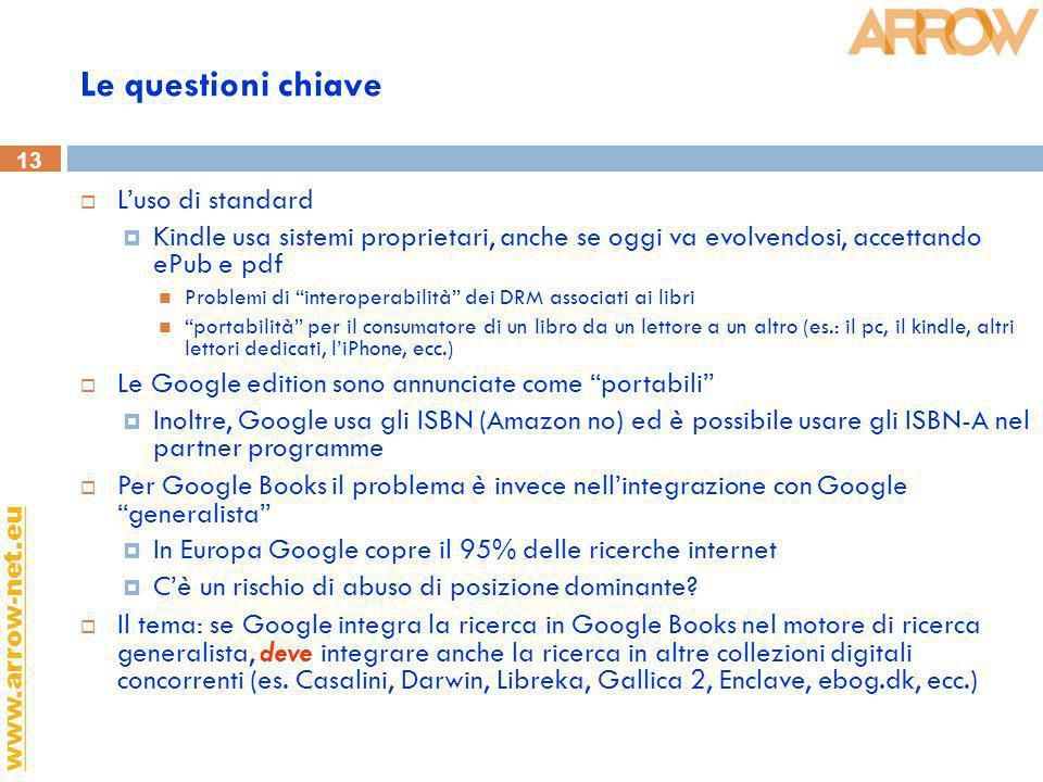 13 www.arrow-net.eu Le questioni chiave Luso di standard Kindle usa sistemi proprietari, anche se oggi va evolvendosi, accettando ePub e pdf Problemi