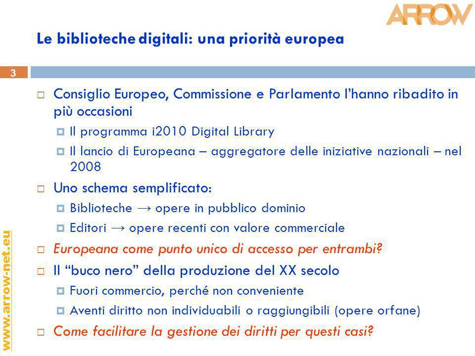 3 www.arrow-net.eu Le biblioteche digitali: una priorità europea Consiglio Europeo, Commissione e Parlamento lhanno ribadito in più occasioni Il progr