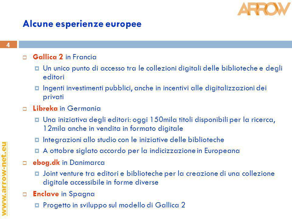 4 www.arrow-net.eu Alcune esperienze europee Gallica 2 in Francia Un unico punto di accesso tra le collezioni digitali delle biblioteche e degli edito