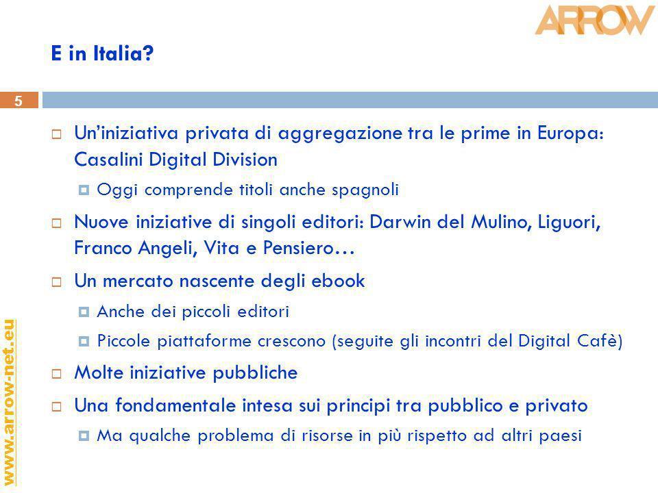 5 www.arrow-net.eu E in Italia? Uniniziativa privata di aggregazione tra le prime in Europa: Casalini Digital Division Oggi comprende titoli anche spa