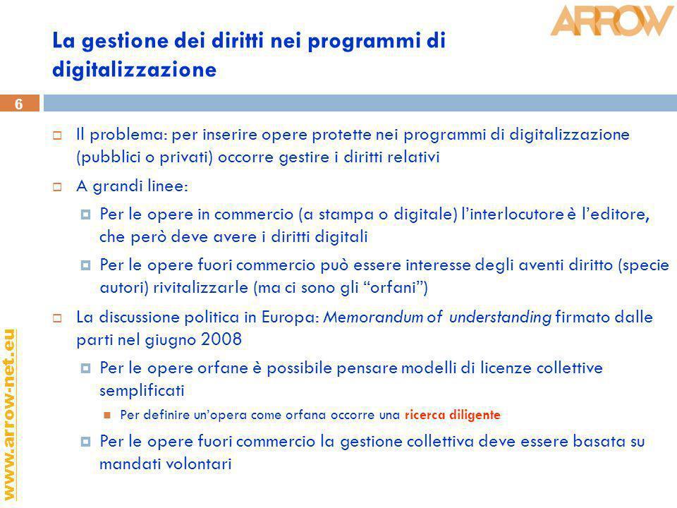 6 www.arrow-net.eu La gestione dei diritti nei programmi di digitalizzazione Il problema: per inserire opere protette nei programmi di digitalizzazion