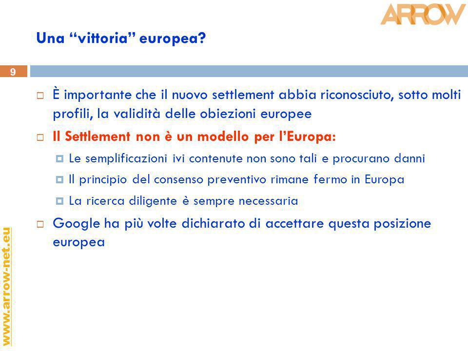 9 www.arrow-net.eu Una vittoria europea? È importante che il nuovo settlement abbia riconosciuto, sotto molti profili, la validità delle obiezioni eur